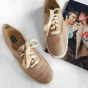 KEDS Gold Shimmer Glitter Canvas Sneakers 8.5